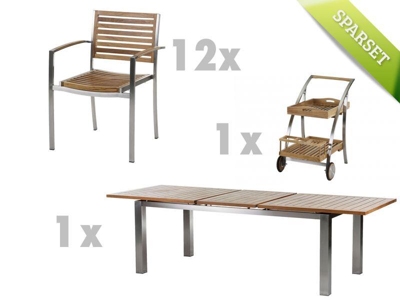 Gartenmobel Set Metall Holz : GartenSitzgruppe DIAMOND GARDEN «Venezia Milano» Teakholz Edelstahl