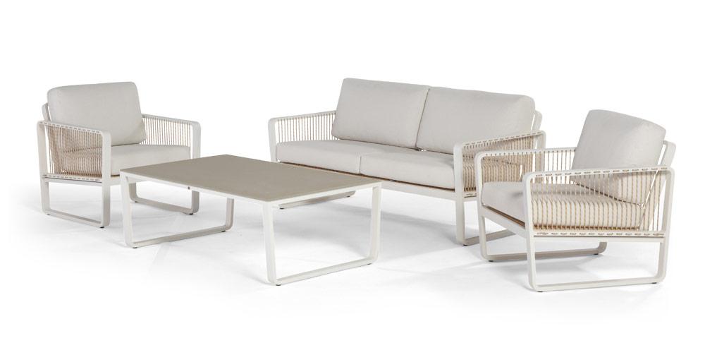 hocker largo lounge fu auflage aluminium mit kissen. Black Bedroom Furniture Sets. Home Design Ideas