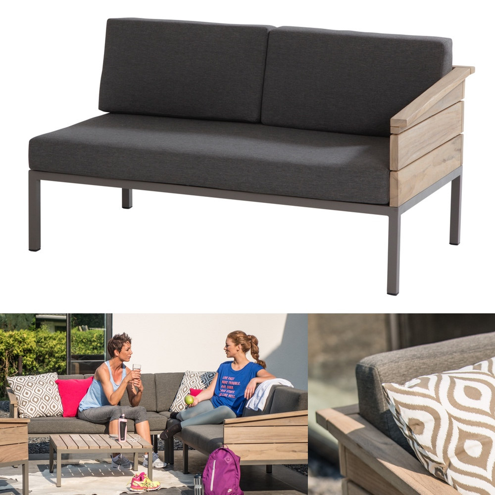 lounge 4seasons cava 2er bank endmodul armlehne links alumminium teakholz vom gartenm bel. Black Bedroom Furniture Sets. Home Design Ideas