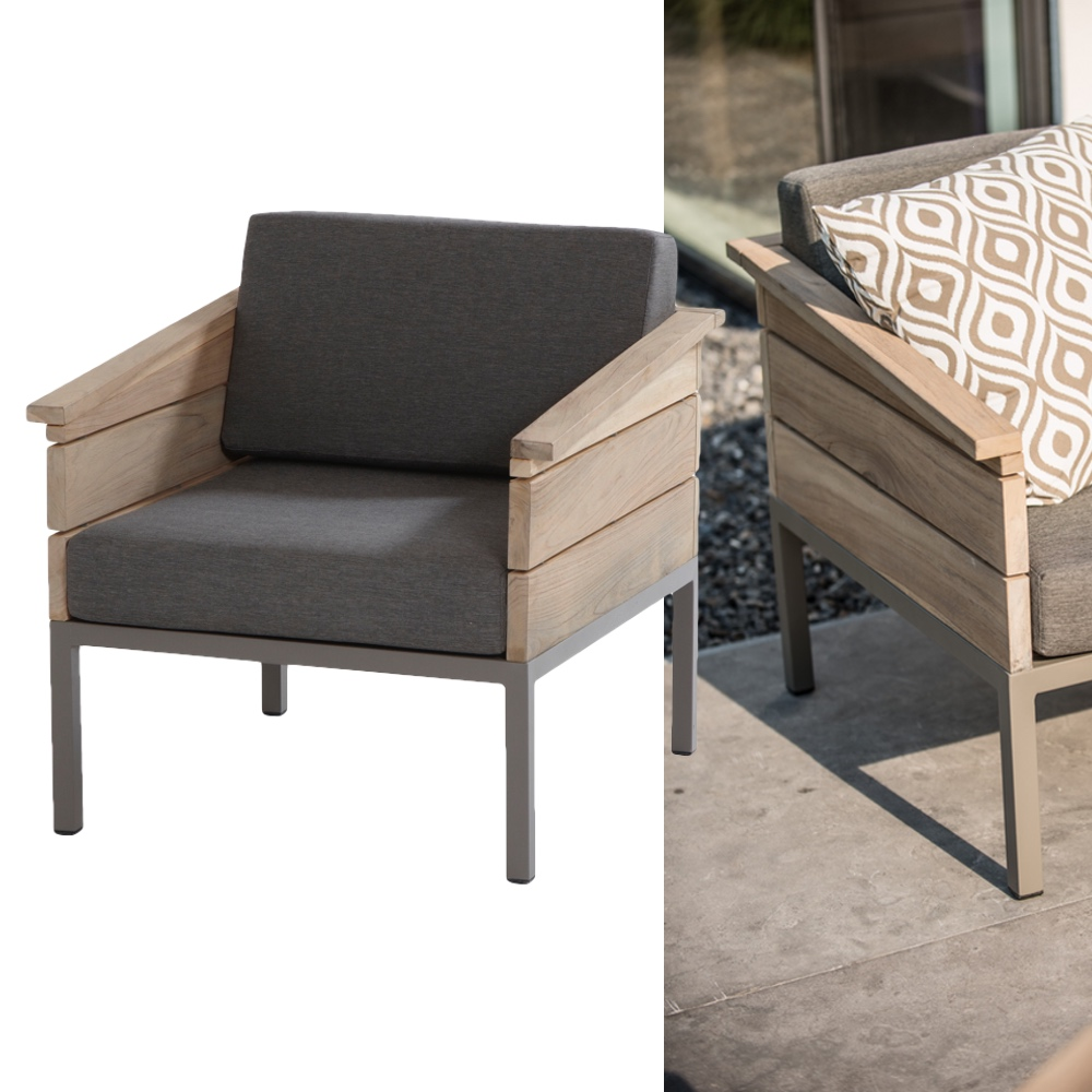 gartenstuhl 4seasons cava loungesessel alumminium teakholz vom gartenm bel fachh ndler. Black Bedroom Furniture Sets. Home Design Ideas