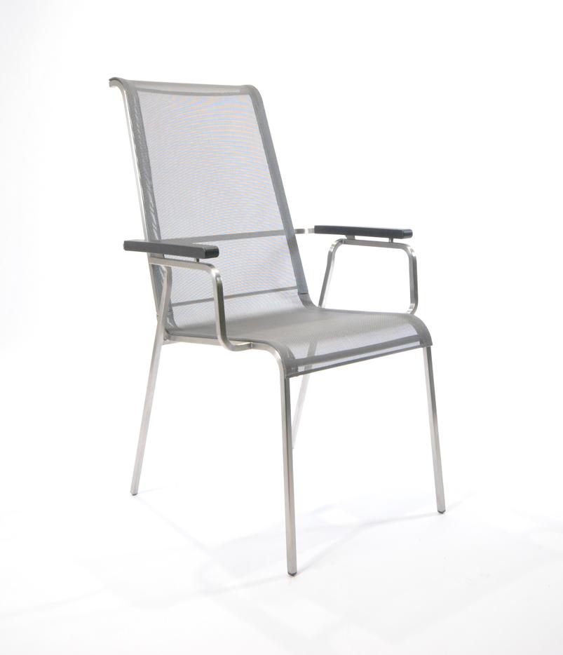 gartenstuhl fischer modena hochlehner gewebe silber. Black Bedroom Furniture Sets. Home Design Ideas