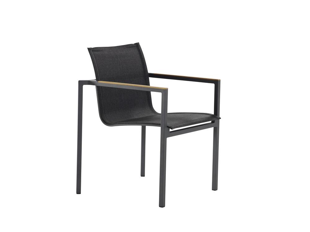 gartenstuhl solpuri clauss stapelsessel anthrazit aluminium teakholz vom gartenm bel. Black Bedroom Furniture Sets. Home Design Ideas