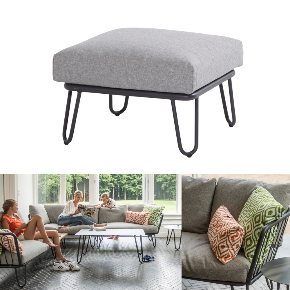 hocker 4seasons premium fu auflage aluminium mit kissen. Black Bedroom Furniture Sets. Home Design Ideas