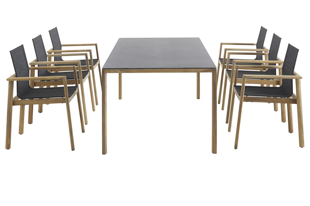 Sitzgruppe SOLPURI «Safari Gartenmöbel-Set 1» Teakholz, Textilene ...