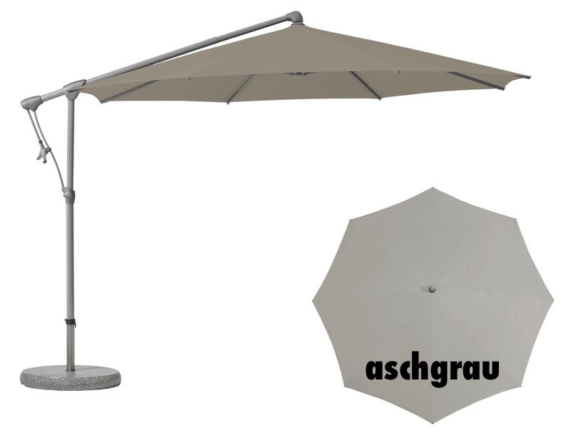 ampelschirm glatz sonnenschirm sunwing c easy rund aschgrau sonnenschutz ebay. Black Bedroom Furniture Sets. Home Design Ideas