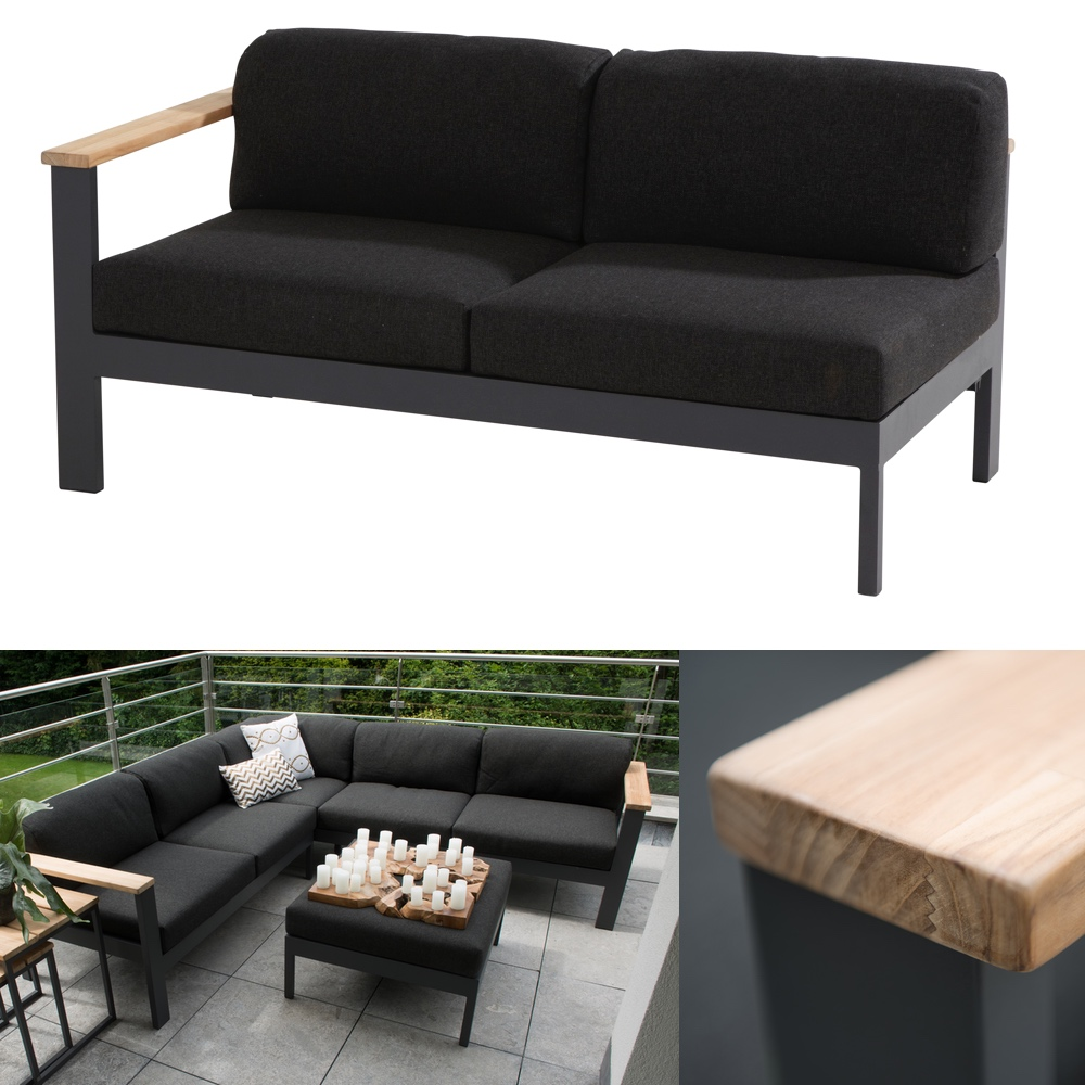 gartenbank 4seasons orion 2er sofa endmodul armlehne rechts teak mit kissen ebay. Black Bedroom Furniture Sets. Home Design Ideas