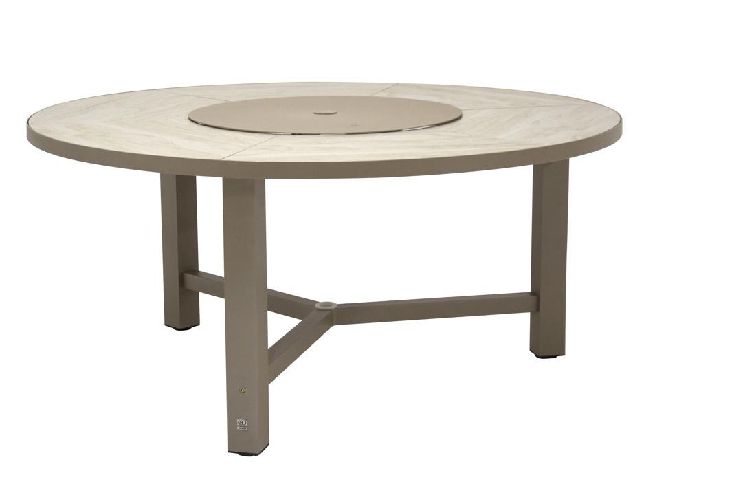 Gartentisch 4seasons diva esstisch rund taupe alugestell for Esstisch taupe