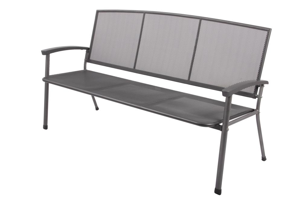 gartenbank rivo 3 sitzer aus streckmetall schwarz parkbank. Black Bedroom Furniture Sets. Home Design Ideas