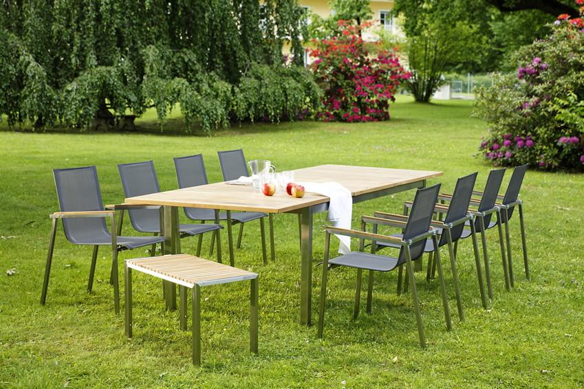 ausziehtisch gartentisch diamond garden roma teak holz 150 200x100cm ebay. Black Bedroom Furniture Sets. Home Design Ideas