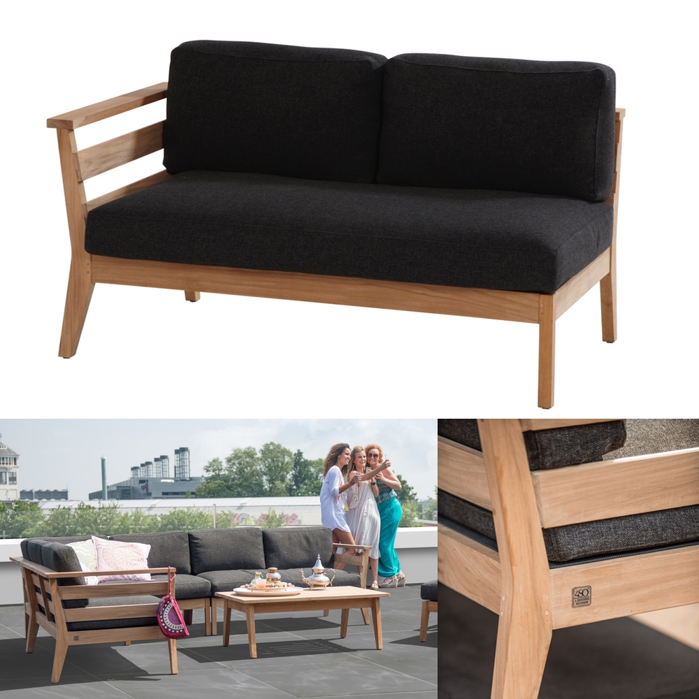 gartenbank 4seasons polo 2er sofa endmodul armlehne rechts teak mit kissen vom gartenm bel. Black Bedroom Furniture Sets. Home Design Ideas