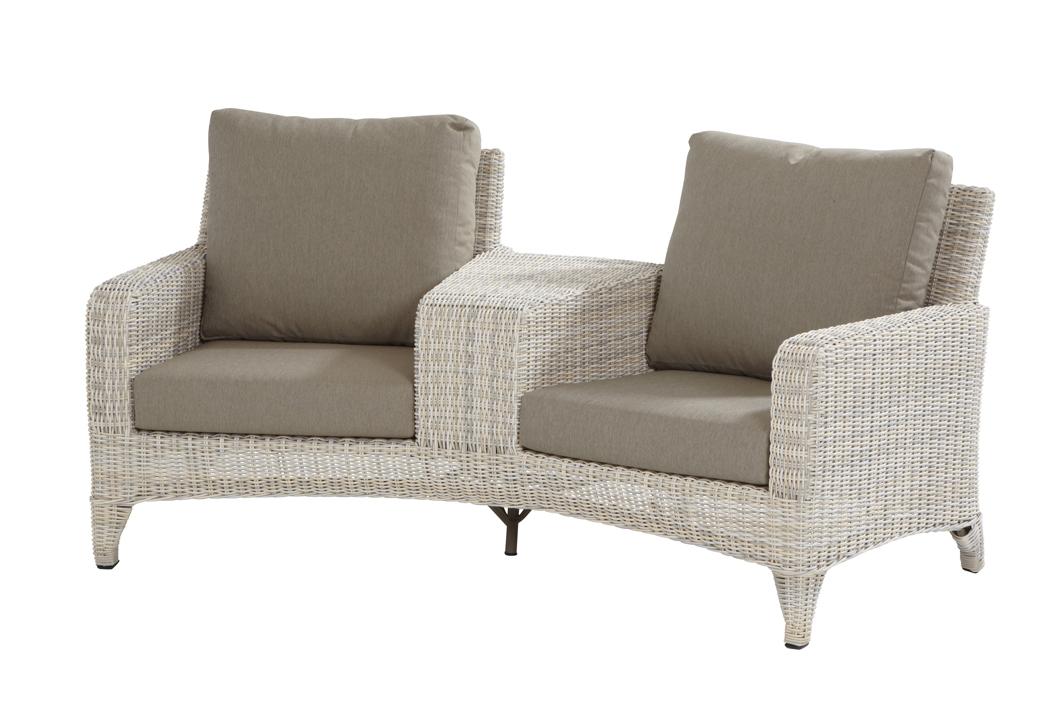 gartenbank vicenza 2er bank elzas 2 sitzer sessel polyrattan geflecht hell beige vom. Black Bedroom Furniture Sets. Home Design Ideas