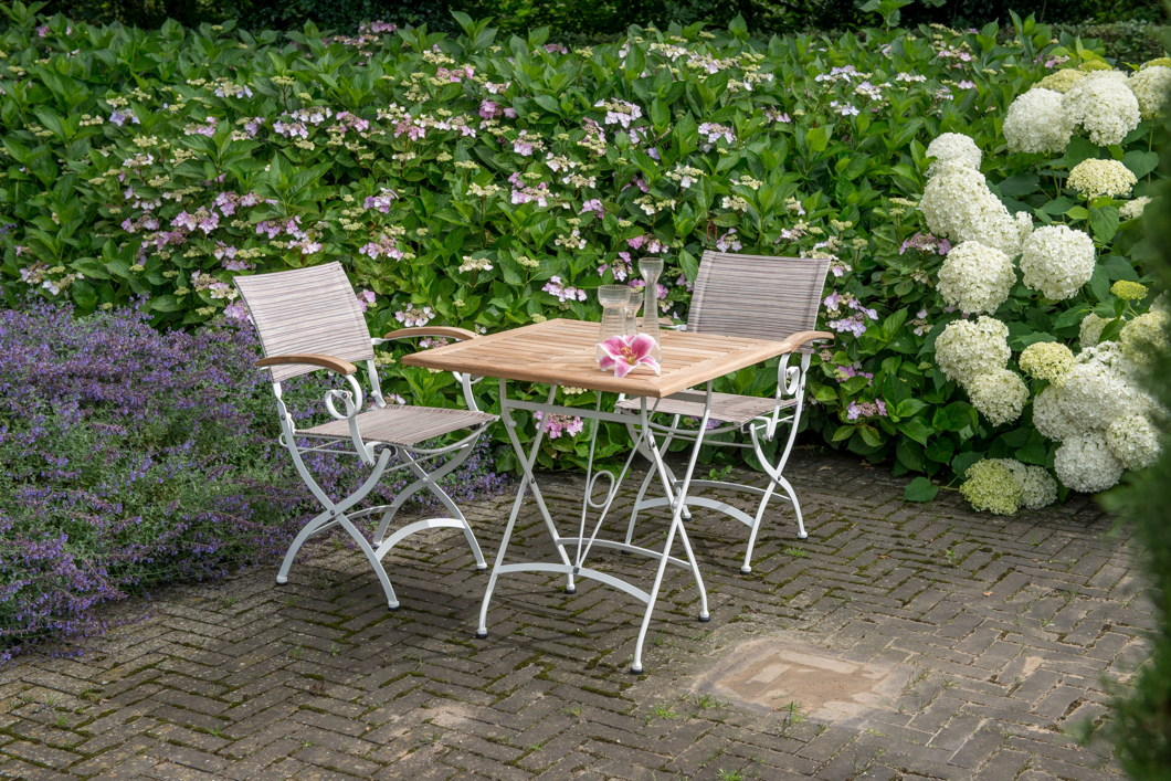 gartentisch 4seasons lindau wei 70x70 biergartentisch klapptisch eisen teak vom. Black Bedroom Furniture Sets. Home Design Ideas