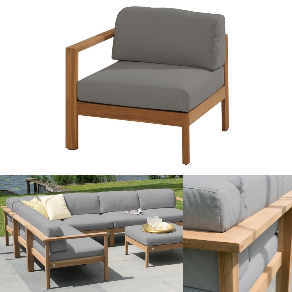 gartenbank 4seasons lido teak 3er bank teakholz kissen ebay. Black Bedroom Furniture Sets. Home Design Ideas