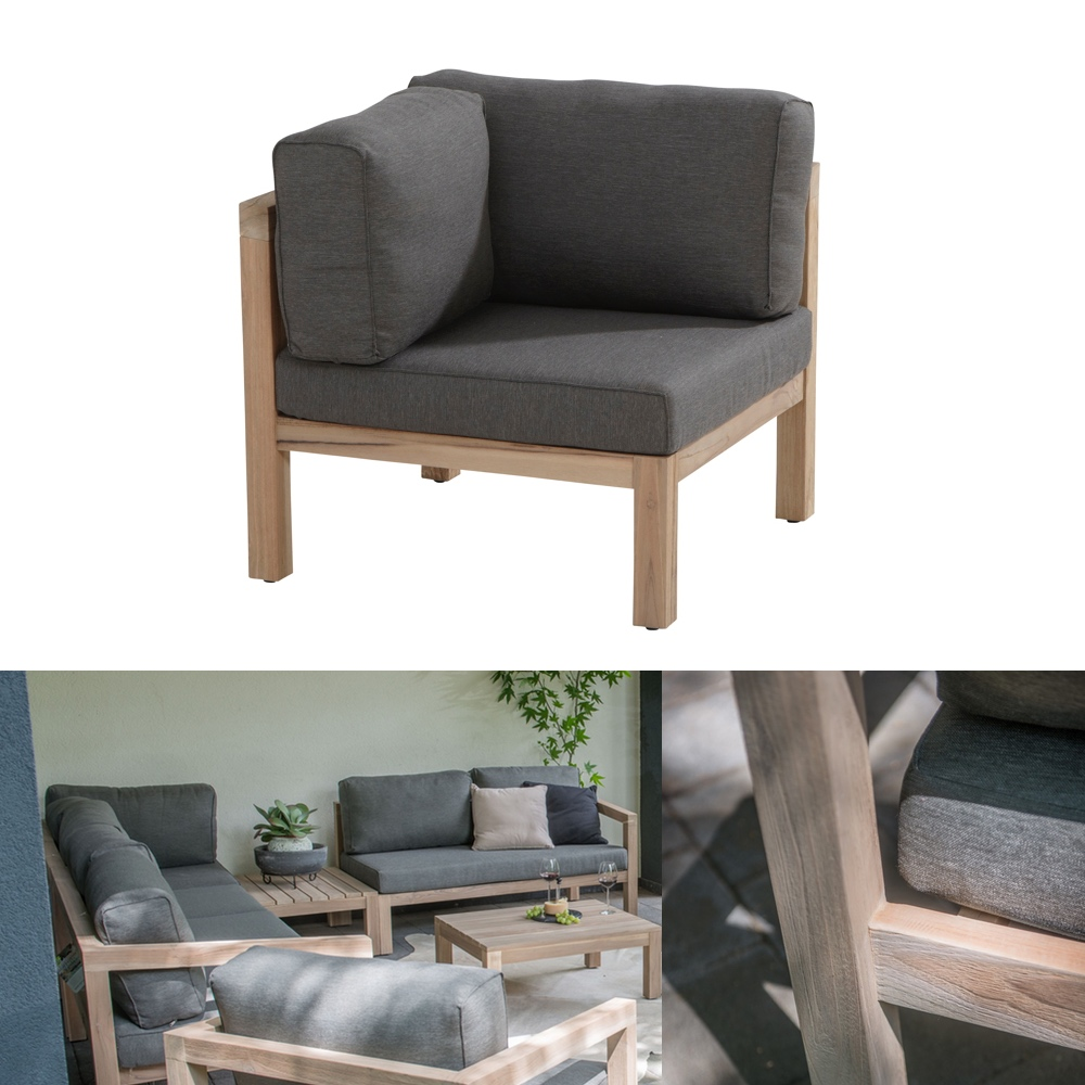 gartenstuhl 4seasons evora loungemodul eckelement teakholz inkl kissen gartenm bel onlineshop. Black Bedroom Furniture Sets. Home Design Ideas