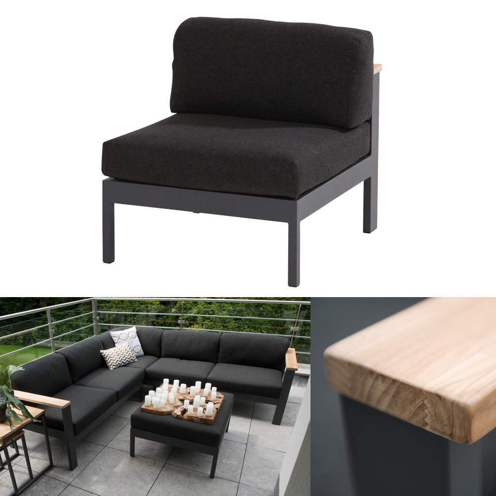 gartenstuhl 4seasons orion mittelelement loungemodul teak mit kissen vom gartenm bel. Black Bedroom Furniture Sets. Home Design Ideas