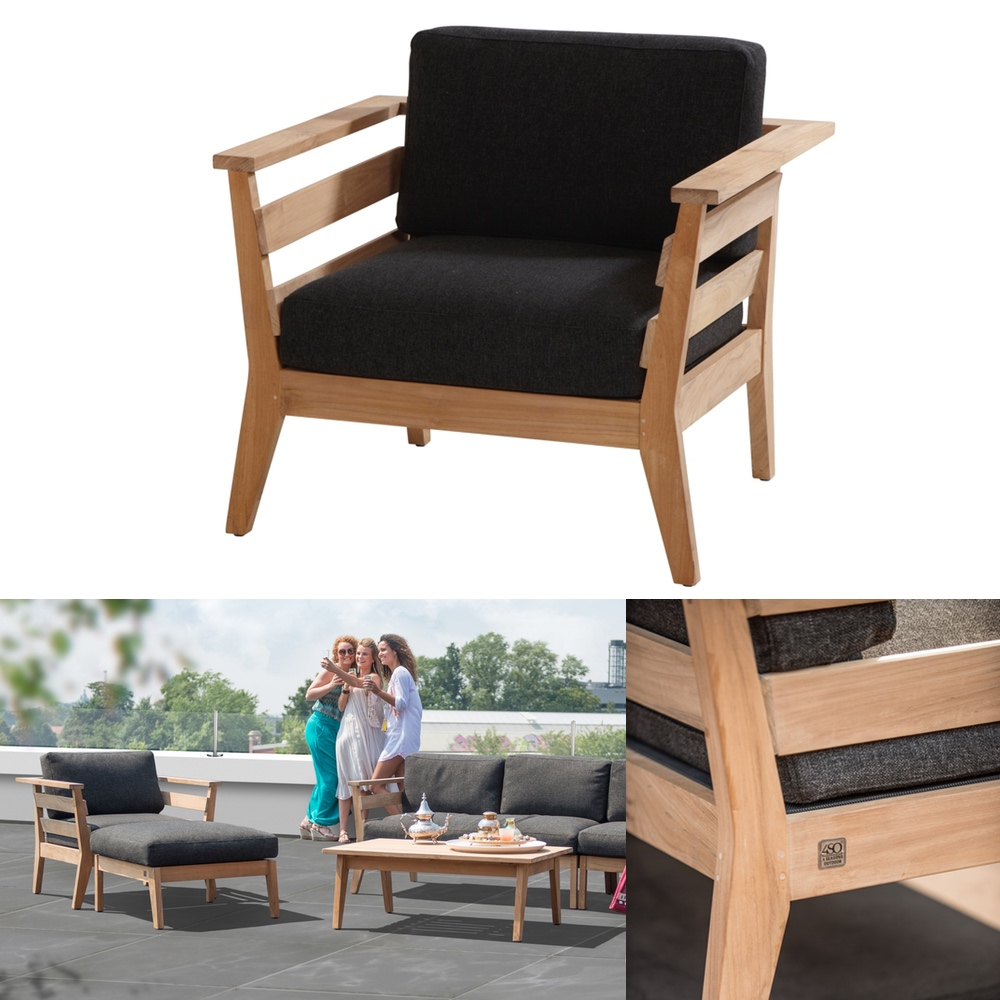 gartenstuhl 4seasons polo sessel loungesessel mit hocker set teak mit kissen ebay. Black Bedroom Furniture Sets. Home Design Ideas