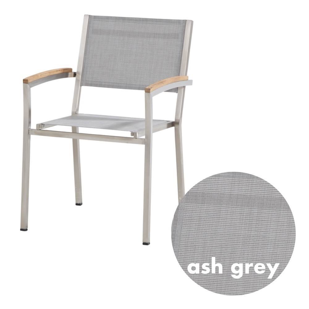 gartenstuhl 4seasons nexxt stapelsessel ash grey edelstahl textilene gartenm bel onlineshop. Black Bedroom Furniture Sets. Home Design Ideas