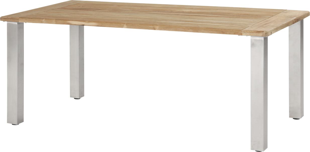 Holz gartentisch 4seasons casa 180x90 edelstahlbeine for Esstisch viereckig