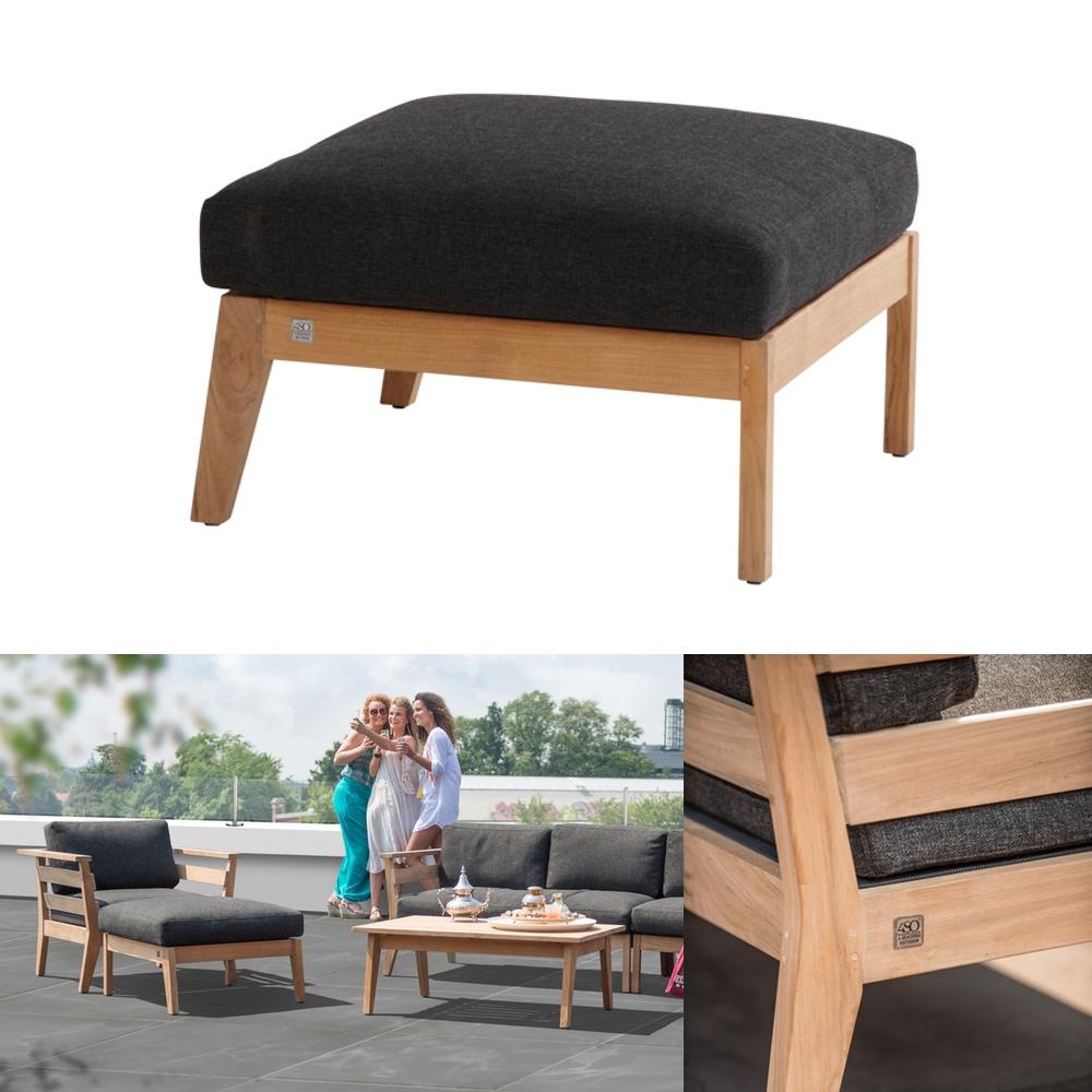 hocker 4seasons polo fu auflage teak mit kissen vom. Black Bedroom Furniture Sets. Home Design Ideas