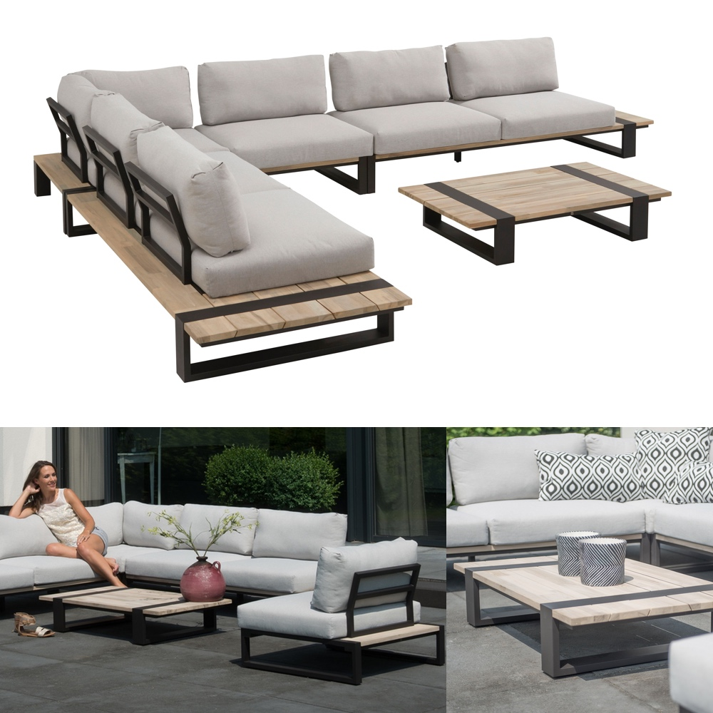 sitzgruppe 4seasons duke gartenm bel set 1 aluminiumgestell teakholz vom gartenm bel fachh ndler. Black Bedroom Furniture Sets. Home Design Ideas