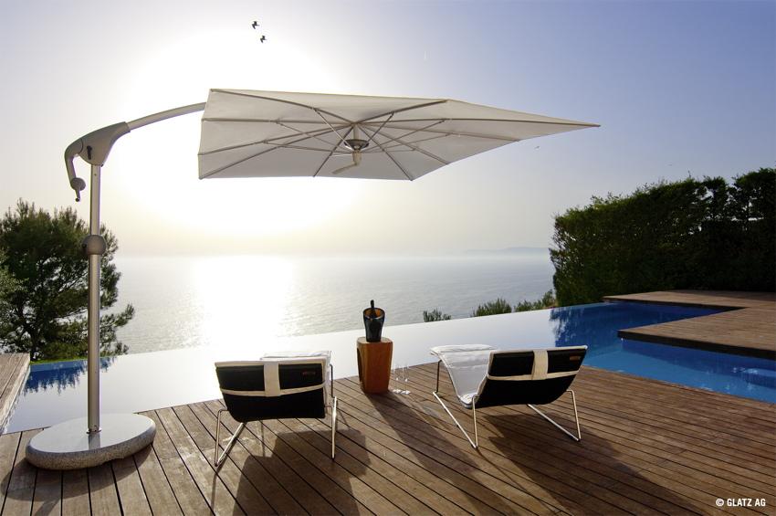 ampelschirm glatz sonnenschirm pendalex p 285x230 champagne sonnenschutz ebay. Black Bedroom Furniture Sets. Home Design Ideas